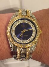 Mens Iced CZ Crystal 14K Gold Plated Metal Geneva Blue Sapphire Dial Watch