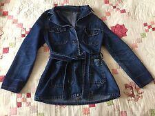 Women's New Look Jeans Long Length Dark Denim Jacket Trench Coat Sz 12