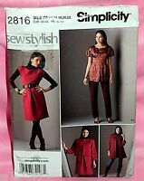 Uncut Simplicity Sz 14-22 Dress or Top Flared Jacket & Slim Pants Pattern 2816