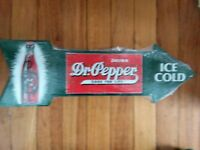 Dr. Pepper Sign Arrow Large Soda Pop Embossed Metal Advertising Tin New USA