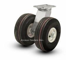 """18PN294S 18"""" Dual Wheel Pneumatic Heavy Duty Swivel Plate Caster, 3180 lbs Cap"""