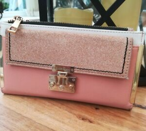River Island sparkle pink genuine leather medium purse new with tags