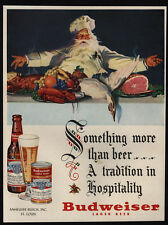 1950 CHRISTMAS Dinner - SANTA CLAUS - Goose - Father - BUDWEISER Beer VINTAGE AD