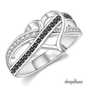 925 Sterling Silver Infinity Knot Heart Friendship Love Promise Ring Size 5-10