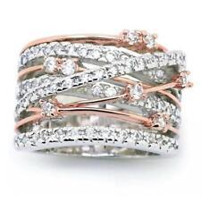 Women Luxury Wide Crystal Rhinestone Zircon Ring Wedding Party Jewelry Gift SU