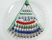 """MCM Platter 12 Days of Christmas Tree Vtg 13.5""""  Painted Glass Round"""