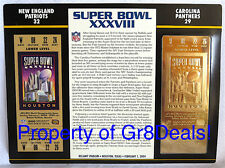 SUPER BOWL 38 PATRIOTS / PANTHERS NFL 22 KT GOLD SB XXXVIII TICKET Willabee Ward