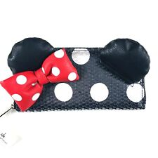 Disney Parks Loungefly Black Red Wallet Minnie Mouse Ears Sequin Polka Dot Bow