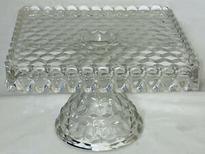 """Fostoria AMERICAN CRYSTAL *10"""" SQUARE CAKE STAND W/RUM HOLE*"""