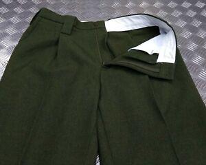 "Military Style H & S Green Barrack Uniform Dress Wool Mix Trousers Waist 34"""