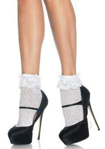 Sexy Lingerie Anklet Socks Lace Ruffles Bows Embroidery Slutty Opaque Footwear