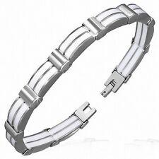 Bracelet Man Steel and Rubber White