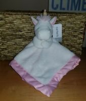 CARTER'S Security Blanket Lovey Blankie Plush UNICORN White w/ Pink Trim NEW NWT