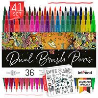 Dual Brush Pens 41er Set 36 Farben 5 Schablonen Fasermaler Fineliner Kalligraphi