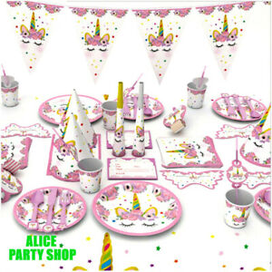 NEWEST UNICORN Birthday Decorations Supplies PARTY Plate Napkins Cover BALLOON