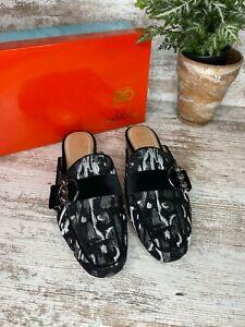 New ~ Women's Rara Avis Iris Black Silver Multi Dress Mule Shoes Size 8 M