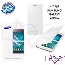 Samsung Galaxy Alpha Custodia a Libro Bianca Wallet + Pellicola Antigraffio 2 Pz