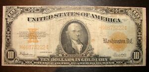 SERIES 1922 $10 TEN DOLLAR GOLD CERTIFICATE CURRENCY NOTE