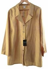 AVENUE 100% Silk Gold Long Sleeve Button Down Blouse Top Christmas Sz 26/28 NWT