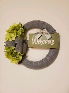 WELCOME green FLOWER Hydrangeas burlap WREATH FALL autumn Decor Front Door 15""