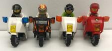 4 Lego Motorcycle Biker Racers Minifigs Lot: figures riders drivers city