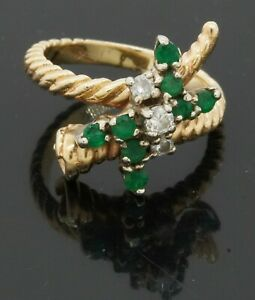 14K yellow gold 0.48CT VS2/H diamond & emerald cable flower ring size 4.5