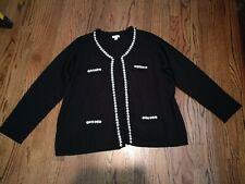 Joan Rivers Knit Cardigan Faux Pearl Crystal Ruffle Accents 3X Black A237316 EUC