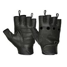 Hugger Men's Deerskin Leather Fingerless Motorcycle Gloves Gel Padded Palm
