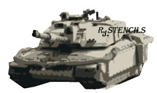 Multilayer STEP BY STEP airbrush stencil challenger tank  - A5