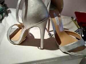 Tony Bianco Silver / Metallic Grey 6.5 Leather Heels
