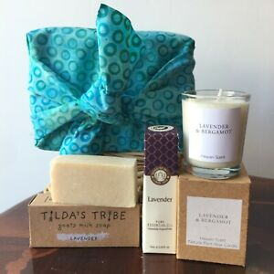 SLEEP WELL LAVENDER GIFT SET BOX  Pre Wrapped SCENTED CANDLES Calming BIRTHDAY