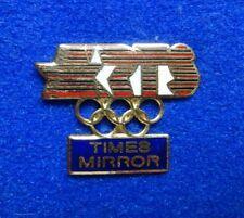 Cloisonne Times Mirror Newspaper LA 1984 ARTS Summer Olympic Media Lapel Pin z3