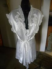Linea Donatella Nightgown Robe Set Bridal Peignoir Beaded Satin  Size Large