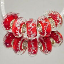 5pcs  MURANO GLASS BEAD LAMPWORK  Fit European Charm Bracelet B140