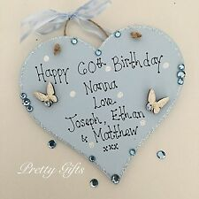 Personalised Sparkly 30th 40th 50th 60th 70th Birthday Heart Plaque Gift