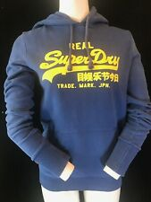 SUPERDRY Womens Blue With Yellow Writing Hoodie Size M
