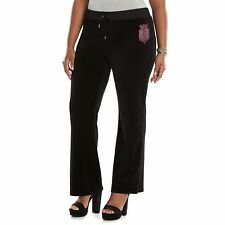JUICY COUTURE XXXL Embellished Velour BLACK Pants (Womens PLUS Size 3X) NWT