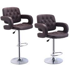 Set of 2 PU Leather Swivel Bar Stools Hydraulic Pub Chair Adjustable Brown New