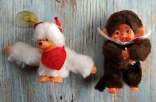 "New listing Vintage Mini 4.5"" Monchhichi Monchichi Monkey Toy Doll +3"" white mouse pal"