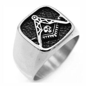 High Quality Solid Stainless Steel Masonic Ring for Men Square Freemason Ring