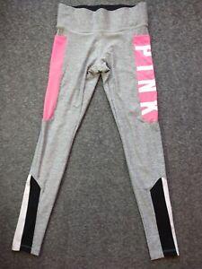 Victorias Secret PINK Pants Womens Sz Small Gray Ultimate Spellout Leggings Hot