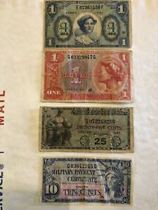 Original Military Payment Certificate Lot of 4 MPC $1 Series 541 591 25cents 10c