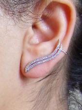 Silver wings ear cuffs pins crawler climber earrings CZ UK Seller