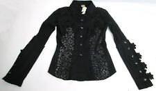 Save The Queen Womens Black Button Up Lace Long Sleeve Blouse Shirt Top Size S