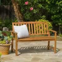 4 ft Outdoor Acacia Wood Garden Teak Bench Patio Furniture Backyard Porch Seat