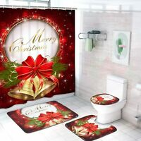 Merry Christmas 4PCS Bathroom Rugs Shower Curtain Bath Mat Toilet Lid Cover