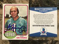 Garo Yepremian (d.2015) Signed 1976 Topps #345 Miami Dolphins AUTO Beckett