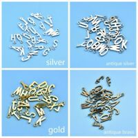 26Pcs Alphabet A-Z Letters Charms DIY Jewelry Making Silver/Gold Pendents