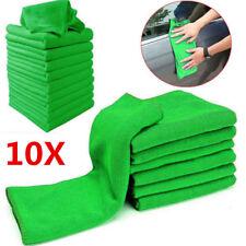 10Pcs Microfiber Washcloth Green Auto Car Care Cleaning Towels Soft Cloths Tool