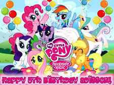 MY LITTLE PONY Friendship Edible Birthday CAKE Image Icing Topper FREE SHIPPING